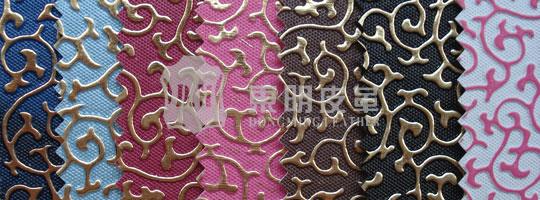 立体花纹pu,雕纹皮革,中国特色花纹装饰皮革-广州