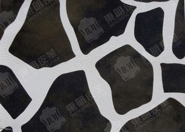 毛发压纹 长颈鹿印花pvc皮革 dm-7689